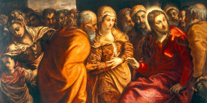 2-R42-F105-1570-B  J.Tintoretto, Christus und Ehebrecherin  Tintoretto, eigentl. Jacopo Robusti, 1518-1594, zugeschrieben. 'Christus und die Ehebrecherin', undat. Oel auf Leinwand, 114 x 204 cm. Inv.Nr. 253 Venedig, Galleria dell'Accademia.  E: J.Tintoretto / Christ and Adulteress  Tintoretto, real name Jacopo Robusti, 1518-1594, ascribed to. 'Christ and the adulteress', undat. Oil on canvas, 114 x 204cm. Inv.no. 253 Venice, Galleria dell'Accademia.  F: Le Tintoret/Jesus et la femme adultere  Le Tintoret, Jacopo Robusti Tintoretto, dit , 1518-1594, Attribue. - 'Jesus et la femme adultere'. - Huile sur toile. H. 1,14 , L. 2,04. Inv.Nr. 253 Venise, Galleria dell'Accademia.